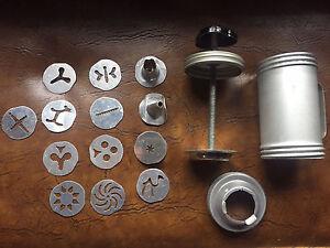 Mirro Vintage Aluminum Pastry Press 2 tips 11 discs