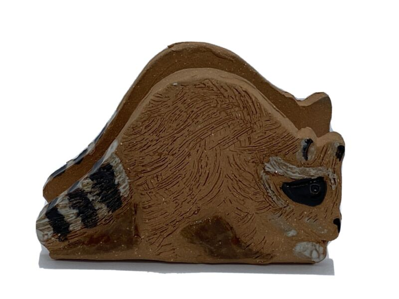 Southern Artistry Handmade Ceramic Raccoon Business Card Holder Signed Morris