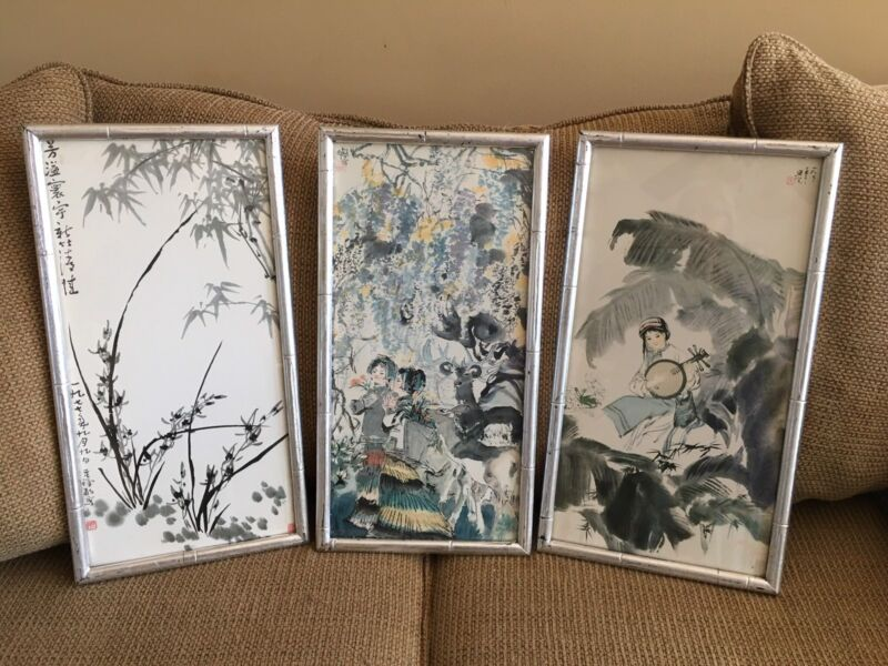 3 Signed VINTAGE JAPANESE WATERCOLOR ON SILK, BAMBOO FRAME