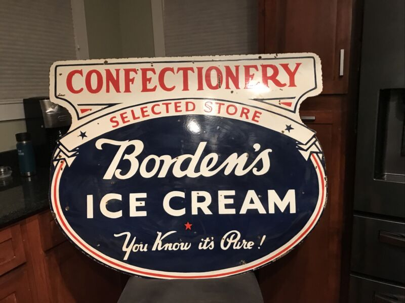 Large Ice Cream Double Sided Porcelain Sign