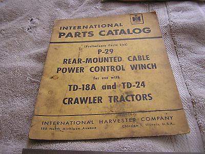 International Parts Catalog P-29 Td-18 Td-24 Crawler Tractors 12-22-53
