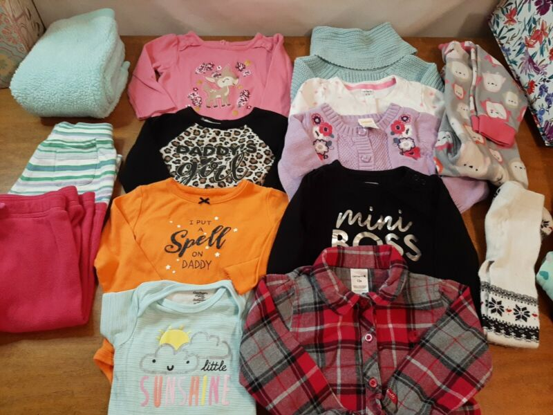 Lot Of 18,  12 Month Baby Girl Clothes, Shirts, Pants,