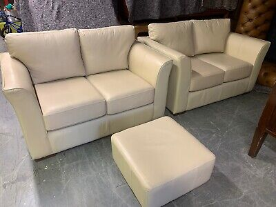 Modern Pair of Cream Leather Two Seater Sofas t and Footstool 2 Piece Suite