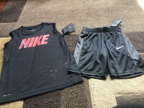 Boys Nike sleeveless tee shorts black outfit size M(NWT)