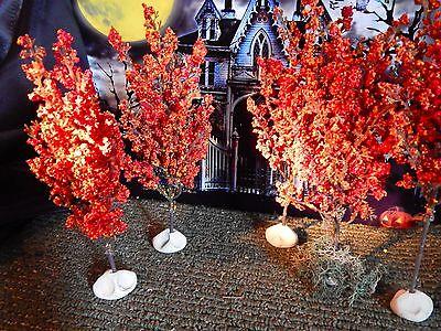 Set 5 HALLOWEEN Fall ORANGE TREES Village Display Dept 56 New England Autumn a