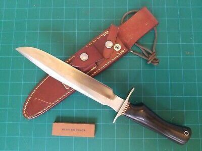 "Randall Made Hunter Knife S ""8"" Orlando FL Micarta 12""L dbl Brass Hilt Sheath"