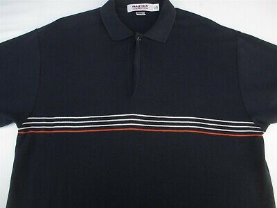 Nautica Mens Pullover Knit Short Sleeve Cotton Navy Polo Shirt Large L