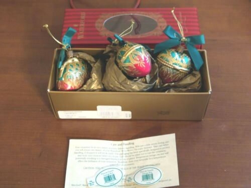 WATERFORD Holiday Heirlooms PEACOCK GRANDE LIMOGE Box Ornaments Set of 3 in Box