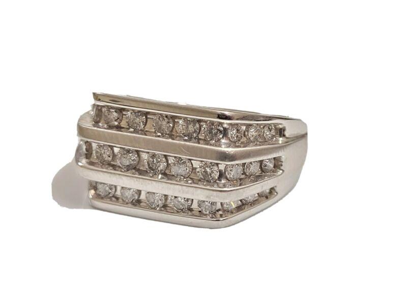 Mens Three Row 1.00 carat diamond ring