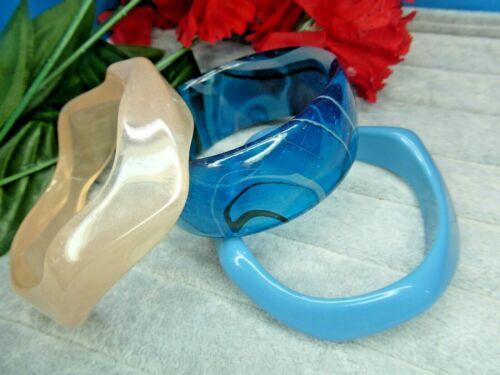 Vintage Lucite Plastic Blue Creamy Peach Translucent Molded BANGLE BRACELET LOT