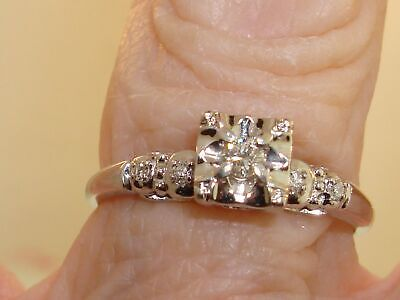 1940s Jewelry Styles and History BEAUTIFUL VINTAGE 1940'S 14K WHITE GOLD APPROX. 1/6 CTW MINE CUT DIAMOND RING!  $174.95 AT vintagedancer.com