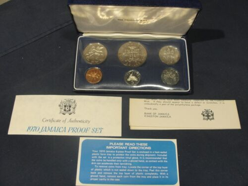 """1970 Jamaica Proof Coin Set New In Box With COA And Papers """"FRANKLIN MINT"""""""