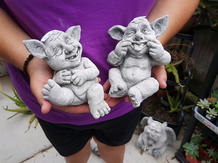 Pair of gremlins for the garden. Full concrete statues