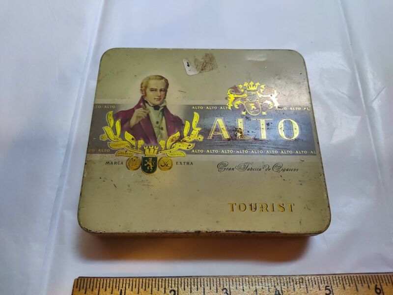 Vintage Alto Tourist European Tin Cigar Box