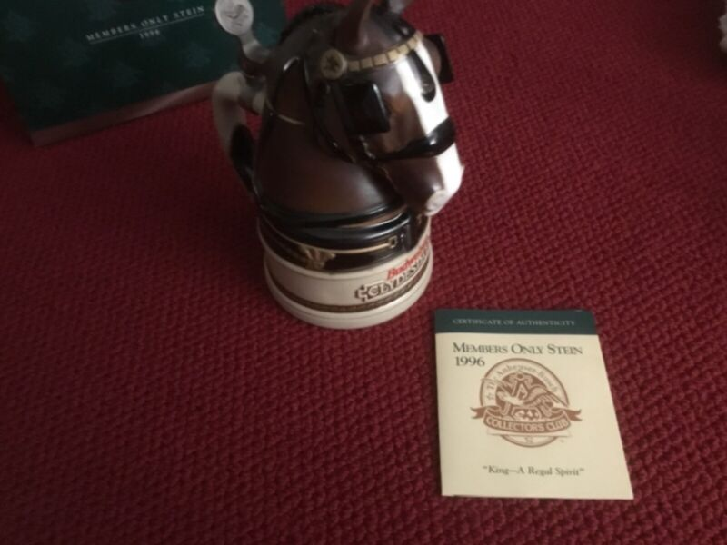 """Great For Dad Or Husband's Desk. Member's only Budweiser """"King""""Beer Stein 1996"""