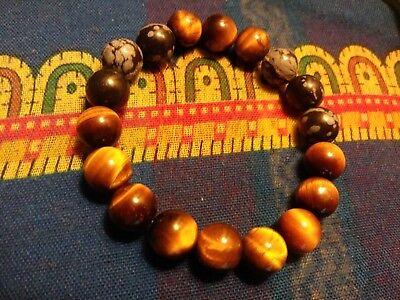 (Tiger's Eye Snowflake Obsidian Stretch Bracelet * Zen Protection Amulet Luck *)