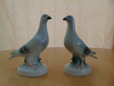 PORCELAIN POTTERY PAIR OF PIGEON BIRD FIGURINES VINTAGE RETRO KITSCH ANTIQUE