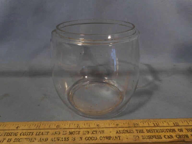 """Vtg Clear Glass Lantern Globe for Deitz D-LITE 4""""Top 4 5/8""""H 3 3/8""""B Lamp Shade"""