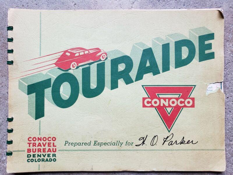 Vtg Conoco Touraide Travel Guide Map Book Roadmap Atlas Gas Oil Garage Station