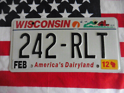 US WISCONSIN 242 RLT DAIRY AUTO CAR KENNZEICHEN NUMMERNSCHILD PLATE DEKO OF USA