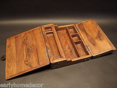 Antique Vintage Style Folding Document Writing Slope Lap Desk Campaign Box