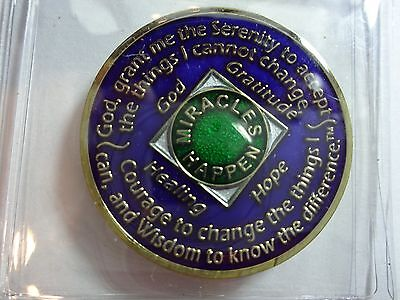Na Blue Gold Coin 29 Year Tri Plate Narcotics Anonymous Medallion  Capsule Stand
