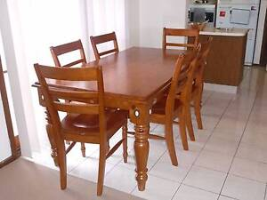 Solid Timber Dining Table with 6 chairs Homebush Strathfield Area Preview