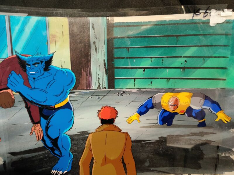 BEAST GAMBIT & STRONG GUY X-MEN ANIMATION CEL & Hand Painted Background with COA