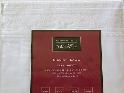 - NIP BLOOMINGDALE'S AT HOME LILLIAN LACE KING FLAT SHEET WHITE EMBROIDERED