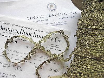 "Vintage Antique French Medium Gold Metallic Lace Trim 7/16"" Lampshade Pillow"