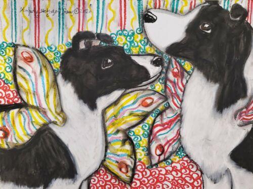 ACEO Border Collie Faeries Mini Pop Art Card Print Dog Collectible Artist KSams