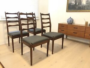 Set of 4 dining chairs - teak MCM ladder back