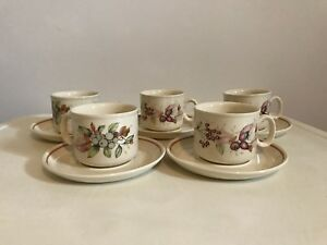 REDUCED PRICE - Set of 5 beige coffee cups