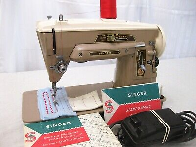 Vintage Singer 403A Zig Zag Heavy Duty Sewing Machine With Accessories 1950's