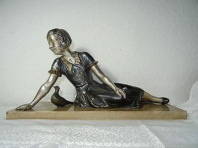 Große Art Déco Figur aus Frankreich, versilbert