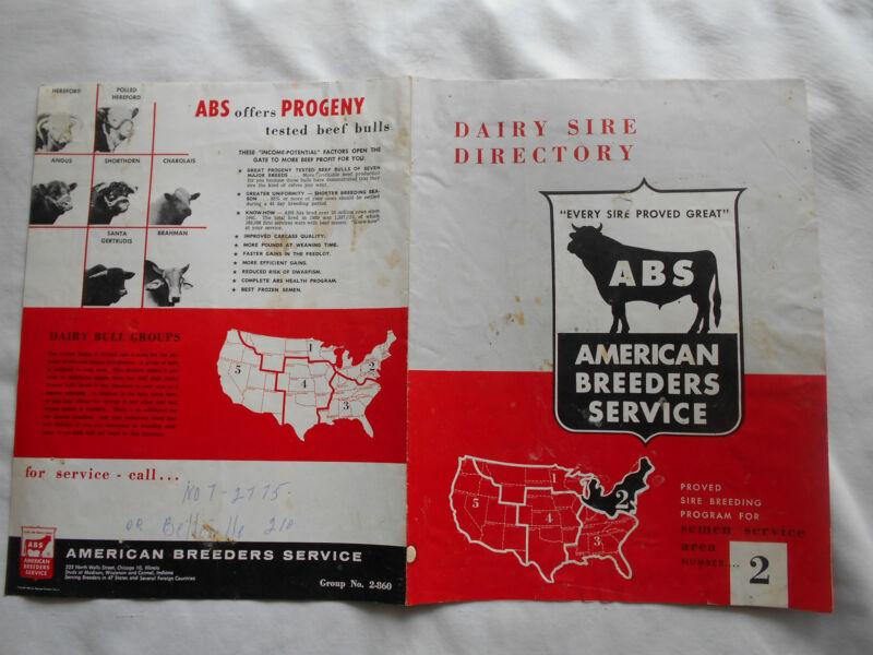 ABS SEMEN SERVICE AREA# 2 DAIRY SIRE DIRECTORY--1960
