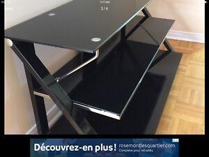 Super tv stand black & chrome