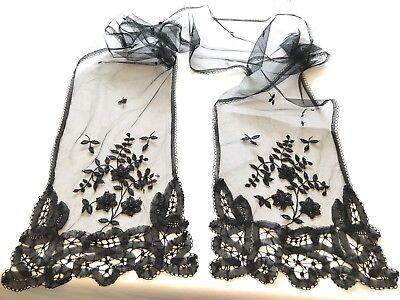 Antique Black Tulle Lace Scarf 72x8 Inches
