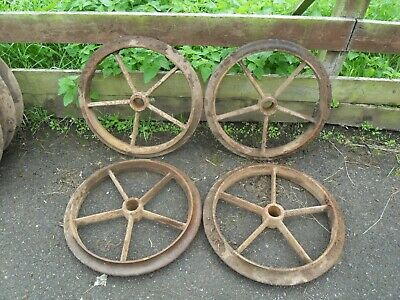 4 Antique / Vintage Cast IRON Shepherds / Hen Hut, Cambridge Wheels 23