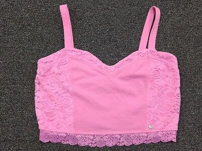 Abercrombie & Fitch Cropped Cami / Tank Top Pink W/ Lace Accent On Side Medium