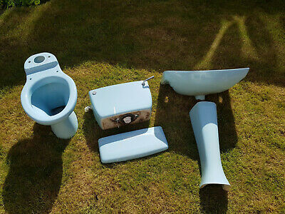 2-Piece Light Blue Bathroom Suite - Pedestal Sink & Toilet with Cistern