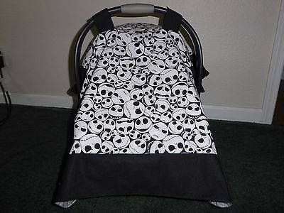 **NIGHTMARE BEFORE CHRISTMAS** w/Jacks head Handmade Baby Car Seat Canopy-Cover