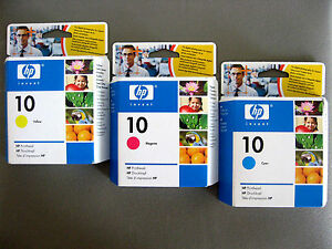 TESTINE-HP10-ORIGINALI-HP10-CYAN-MAGENTA-YELLOW-C4801A-C4802A-C4803A-HP10