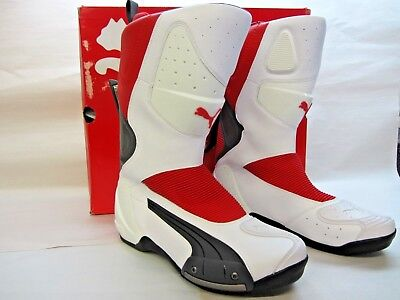 Puma 500 Boots - Size 12 US - White w/ Red Motorcycle Boots - CLOSEOUT