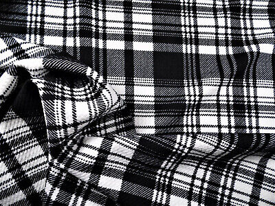 Bullet Printed Liverpool Textured Fabric 4 way Stretch Black White Plaid