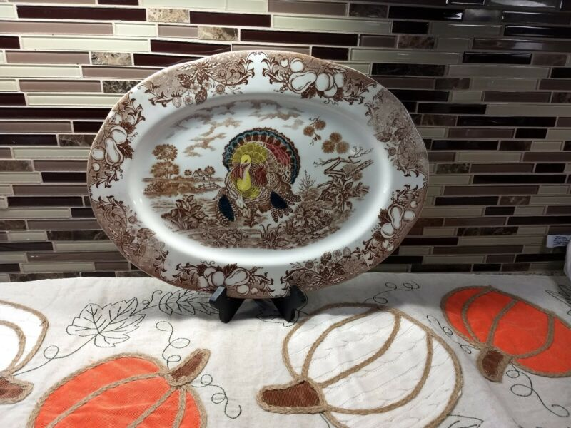Turkey Platter, Vintage, Made In Japan, 16x 12 Inches