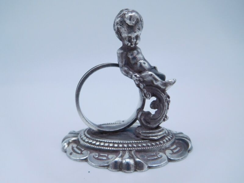 LOVELY VICTORIAN SILVER PLATED FIGURAL NUDE BOY NAPKIN RING b