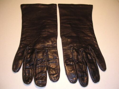 Vintage Pair Hand Cut Silk Lined Black Leather Gloves Size 7 1/2 7.5