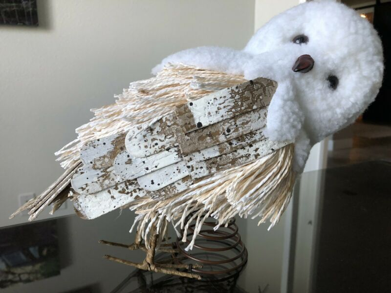 POTTERY BARN ARTIC SNOWY WHITE OWL Hedgwig  Christmas Tree Topper