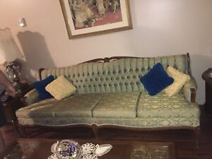 1950s GORGEOUS TEAL VICTORIAN 4 SEATER AND CHAIR